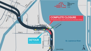 The Bonaventure Expy. toward the Samuel de Champlain Bridge at Exit 3 (Carrie Derick) will be completely closed tonight and tomorrow night from 10 p.m. to 5 a.m.