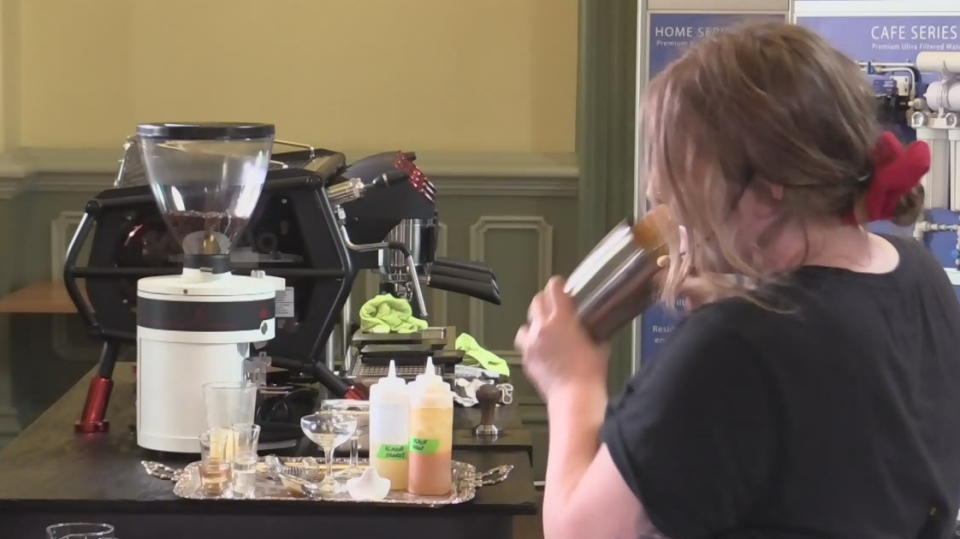 A barista mixes up a beverage at the Specialty Coffee Association's eastern qualifier in St. Thomas, Ont. on Monday, Sept. 9, 2019. (Brent Lale / CTV London)