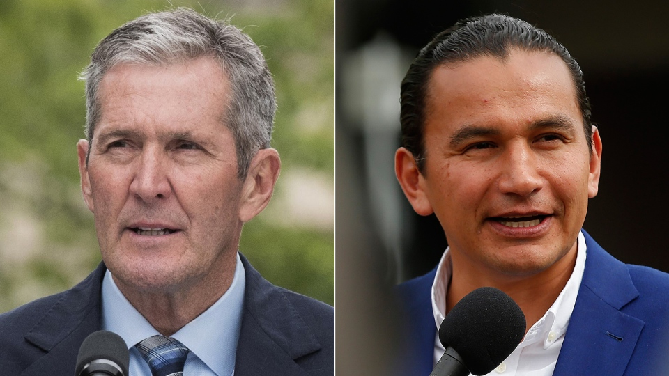 Manitoba Premier Brian Pallister and provincial NDP Leader Wab Kinew are seen in this composite photo. (THE CANADIAN PRESS)