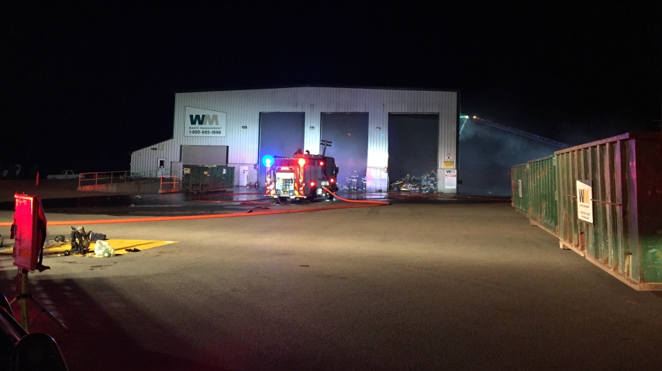 Firefighters on scene of a fire at a waste management facility in Mount Forest. (Photo: Terry Kelly / CTV Kitchener) (Sept. 9, 2019.)