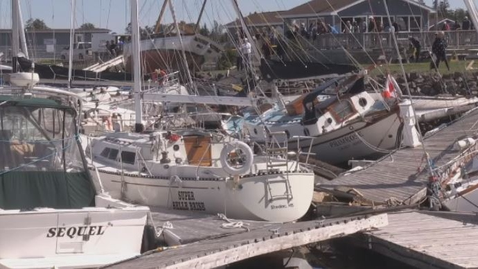 A number of boats in Shediac, N.B., were destroyed as Dorian brought strong winds and storm surge to the region.
