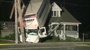 Man charged in transport crash involving house (Alex Lamothe/CTV Northern Ontario)