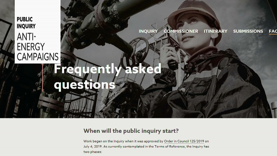 The Alberta Inquiry website allows visitors to submit tips regarding potential foreign funding of anti-energy campaigns