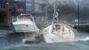 Pleasure boats take a beating along the waterfront in Halifax as hurricane Dorian approaches on Saturday, Sept. 7, 2019. THE CANADIAN PRESS/Andrew Vaughan
