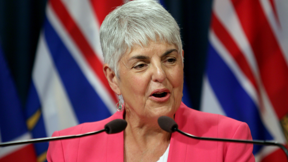 Finance Minister Carole James releases the provincial public accounts report during a press conference at the press gallery at B.C. Legislature in Victoria, B.C., on Thursday, July 18, 2019. (Chad Hipolito / THE CANADIAN PRESS)