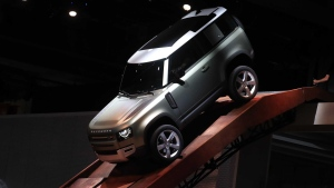 The new Land Rover Defender SUV on display on the opening day of the Frankfurt Motor Show in Germany. (Krisztian Bocsi / Bloomberg / Getty / CNN)