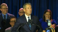 Brian Pallister speaks to supporters