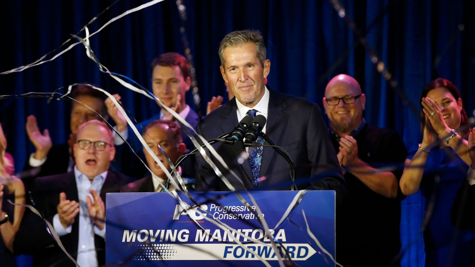 Manitoba PC leader and Premier-elect Brian Pallister celebrates winning the Manitoba election in Winnipeg, Tuesday, September 10, 2019. THE CANADIAN PRESS/John Woods