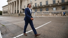 Manitoba NDP leader Wab Kinew leaves