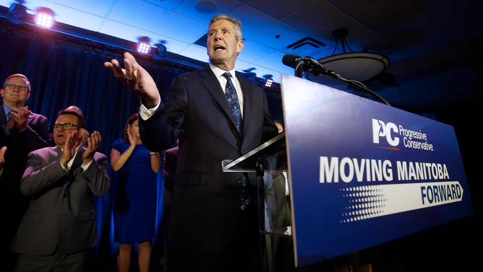 Manitoba PC leader and premier Brian Pallister celebrates winning the Manitoba election in Winnipeg, Tuesday, September 10, 2019. THE CANADIAN PRESS/John Woods