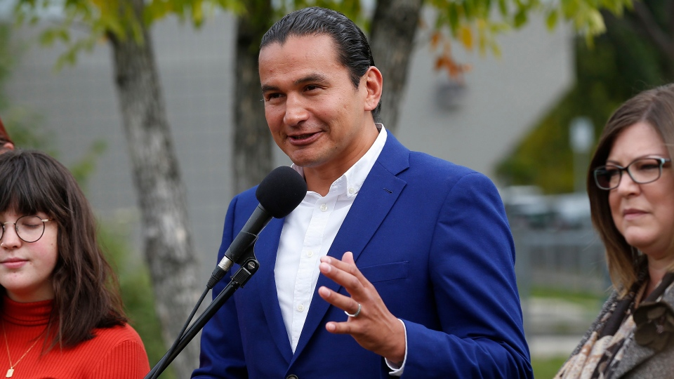Manitoba NDP Leader Wab Kinew speaks with media in Winnipeg's west end, Monday, September 9, 2019. Manitobans go to the polls September 10. THE CANADIAN PRESS/John Woods