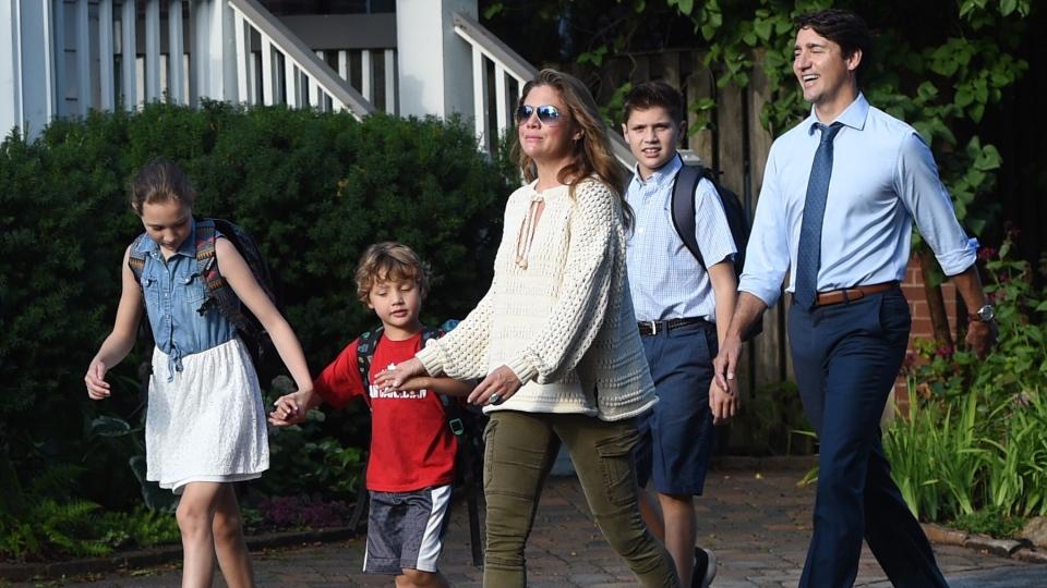 Trudeau walks children to school