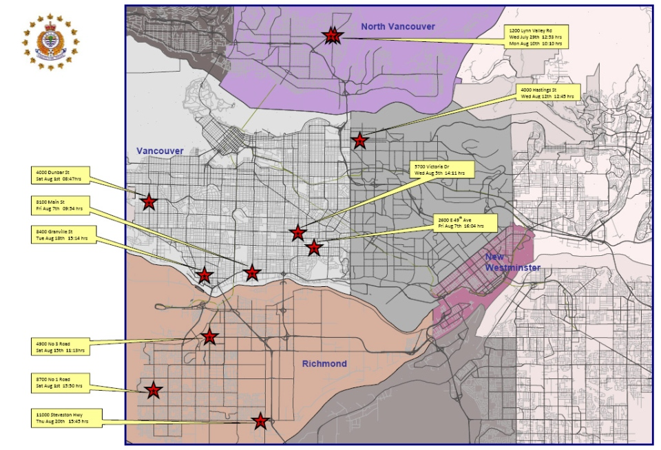 A map produced by the Vancouver Police Robbery/Assault/Arson Unit was distributed on Thursday, August 27, 2009. (Vancouver Police)