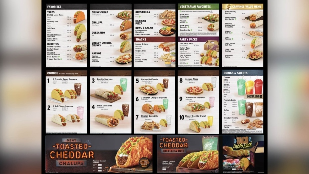 Taco Bell vegetarian section