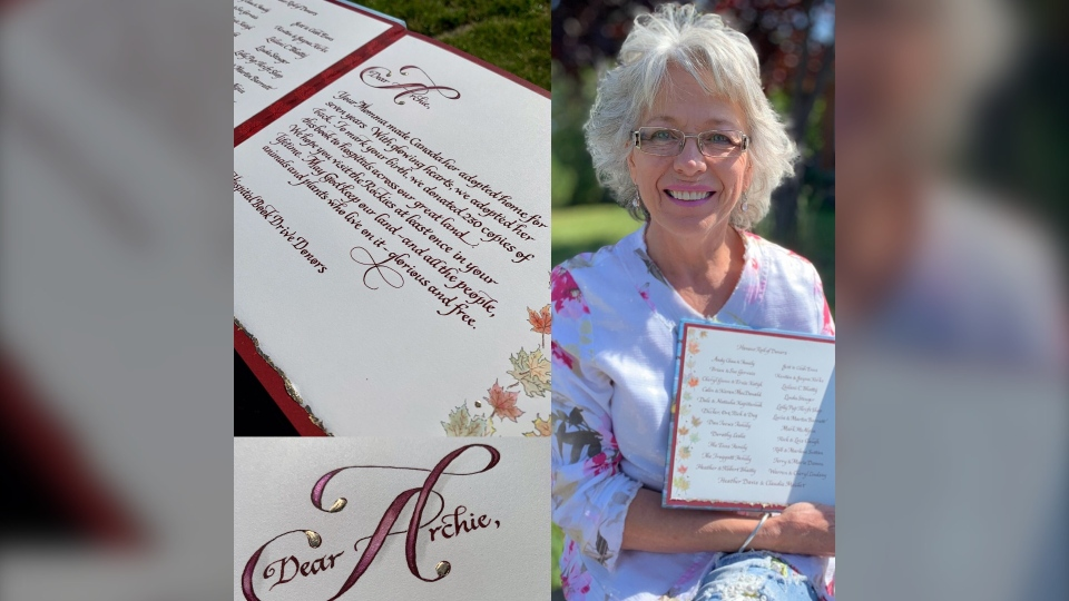 Airdrie calligrapher BerylAnne Hodgins worked on the Royal edition of the book for baby Archie.