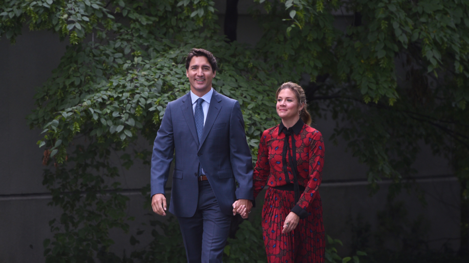 Liberal leader Justin Trudeau and Sophie Gregoire Trudeau arrive at Rideau Hall in Ottawa, Wednesday, Sept. 11, 2019. (Justin Tang / THE CANADIAN PRESS)