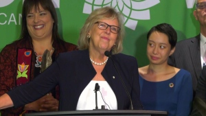 Green Party Leader Elizabeth May kicked off her campaign at an event in Victoria.