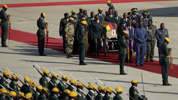 A coffin carrying Robert Mugabe's remains