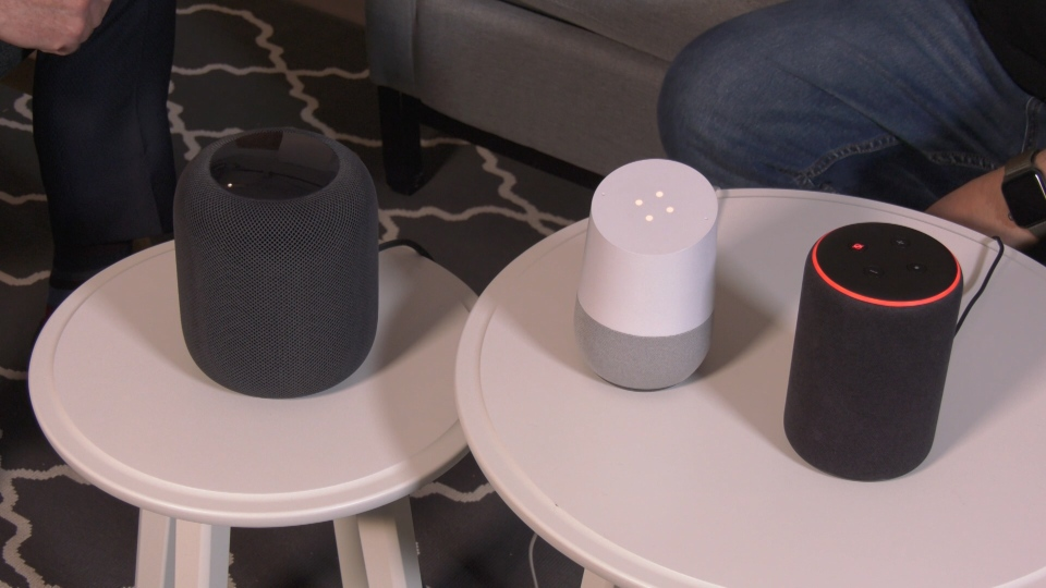 Smart speakers - (from left to right) Apple HomePod, Google Home, Amazon Echo