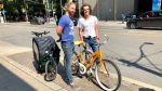 "Ben James was able to reunite Drew Phillips-Gavin with his stolen bike, after the thief who stole James' bike ditched Phillips-Gavin's ""Orange Julius"" in its place. (Natalie Johnson/CTV News Toronto)"