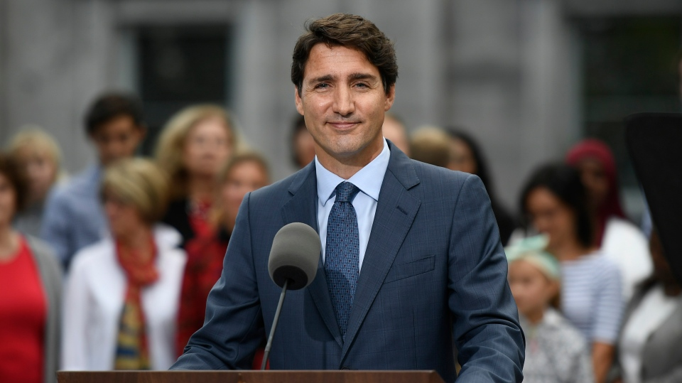 Liberal Leader Justin Trudeau talks to media at Rideau Hall in Ottawa, Wednesday, Sept.11, 2019. THE CANADIAN PRESS/Justin Tang