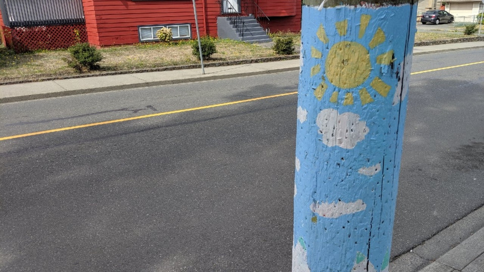 A BC Hydro power pole painted by the Fernwood community: Sept. 11, 2019 (CTV News Vancouver Island)