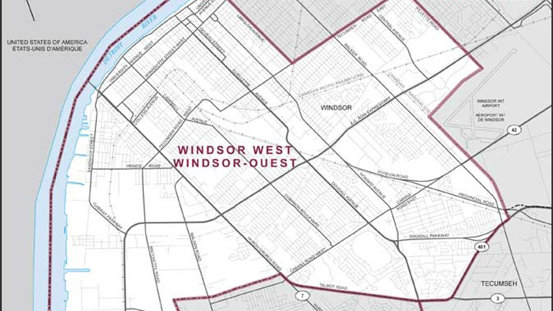 A map of the Windsor West riding. ( photo courtesy of Elections Canada )