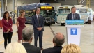 Vancouver Mayor Kennedy Stewart speaks at the unveiling of four battery-powered electric buses in Vancouver Wednesday afternoon. (CTV)