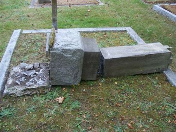 Vandals tipped the 12 headstones all together at the Ross Bay Cemetery causing around $10,000 damage. August 25th,2009.