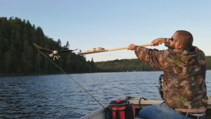 WATCH: Angler Kevin Labrosse feeds a bald eagle with a paddle while fishing on Lake Temiskaming on the Ontario-Quebec border.