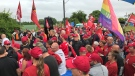 Nemak workers and their supporters have gathered for a rally near the plant in Windsor, Ont., on Thursday, Sept. 12, 2019. (Michelle Maluske / CTV Windsor)