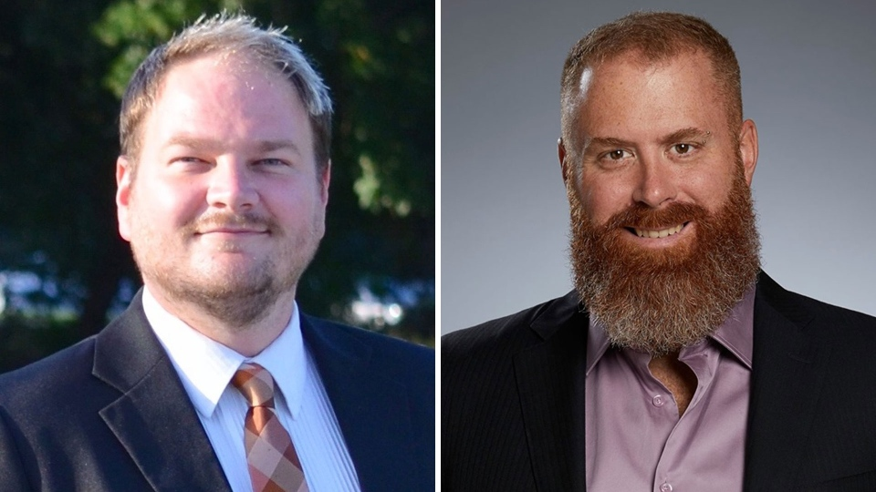 Former NDP candidates Dock Currie (left) and Olivier Mathieu are seen in these undated photos. (Photos: Facebook)