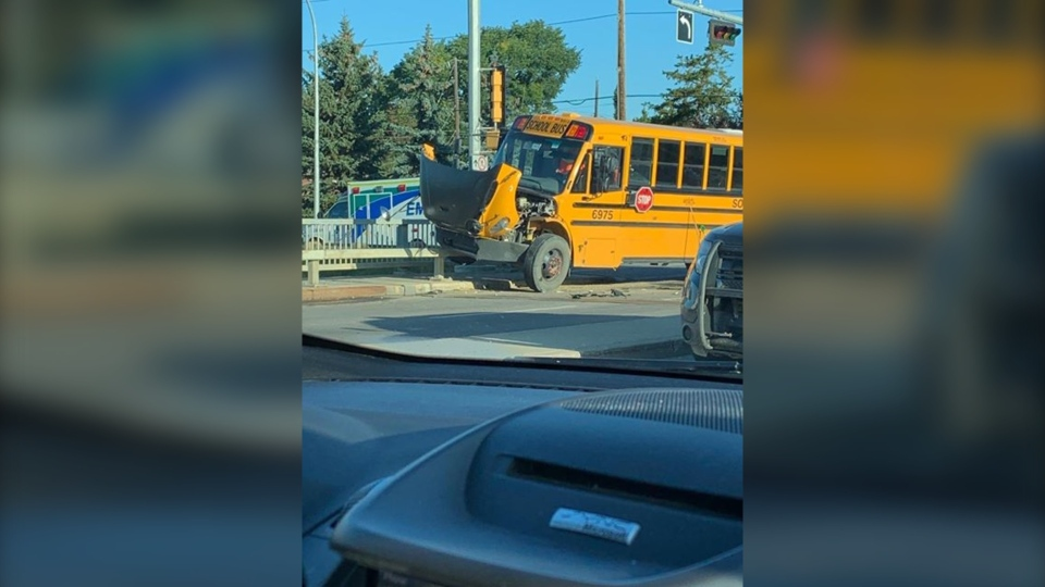 A school bus was involved in a crash in the area of Whitemud Drive and 159 Street Thursday morning.