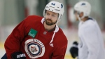 Winnipeg Jets' Josh Morrissey (44) skates during practice prior to their first round of NHL playoff action against the St. Louis Blues in Winnipeg, Monday, April 8, 2019. The Winnipeg Jets have signed defenceman Josh Morrissey to an eight-year, US$50-million contract extension. THE CANADIAN PRESS/John Woods
