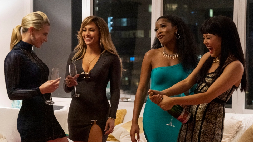 This image released by STXfilms shows, from left, Lili Reinhart, Jennifer Lopez, Keke Palmer, and Constance Wu in a scene from