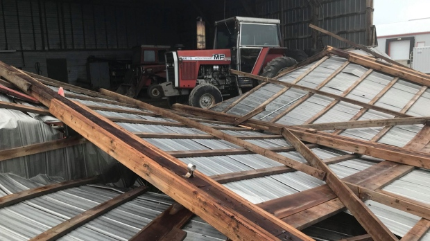 Damage is seen in the area of Petrolia, Ont. on Thursday, Sept. 12, 2019, a day after a storm tore through the area. (Sean Irvine / CTV London)