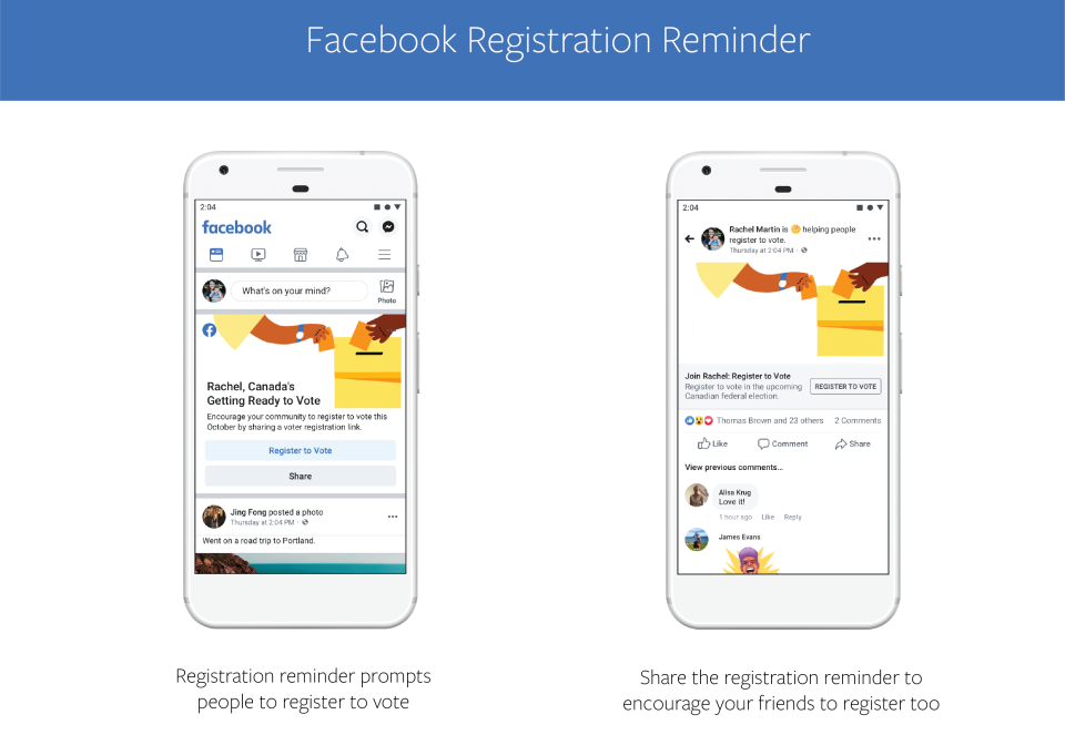 Facebook will be sending these Elections Canada registration reminders to the top of users' newsfeeds. (Facebook)