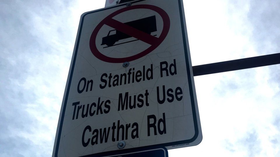 A sign indicates a road restriction for delivery trucks in Peel Region. (Natalie Johnson/CTV News Toronto)
