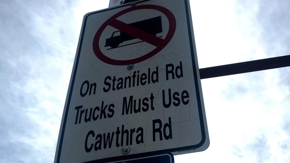 sign, trucks