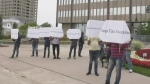 Sarnia gas stations protest nearby tax-free fuel