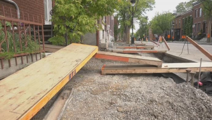 Residents say these ramps on Ste-Madeleine St. are unsteady and narrow.