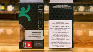 This photo provided by Kind Leaf Pendleton shows one of the brands of marijuana vape pens that Pendleton, Ore.-based Kind Leaf Pendleton has taken off their shelves amidst a spate of severe lung disease and deaths that have been tied to electronic cigarettes, seen Thursday, Sept. 12, 2019. (Courtesy of Brandon Krenzler/Kind Leaf Pendleton via AP)