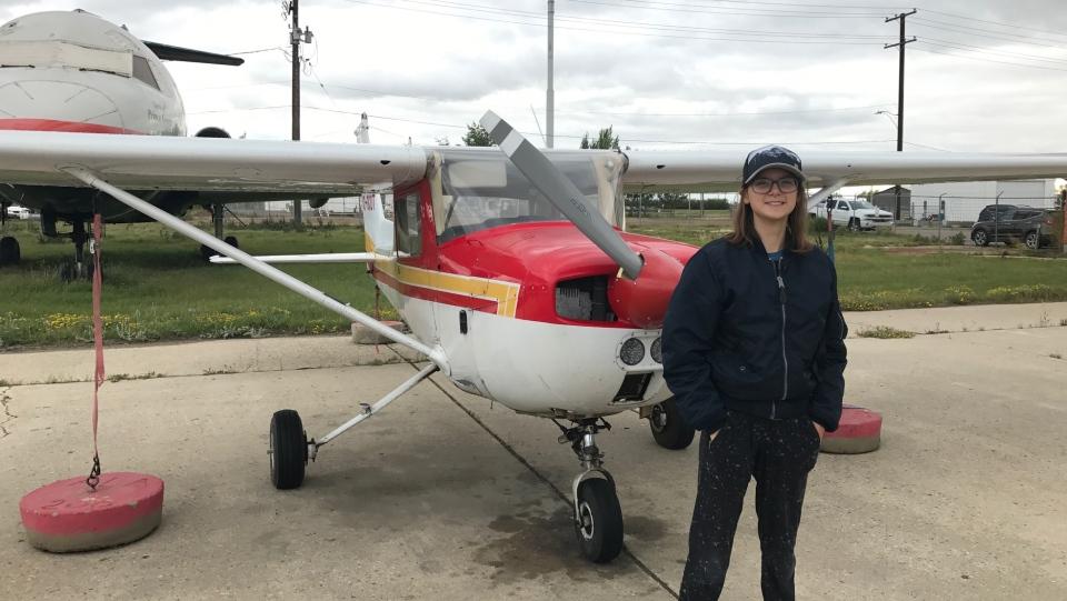 Sara Striker pictured at Millennium aviation in Saskatoon. (Saron Fanel/CTV Saskatoon)