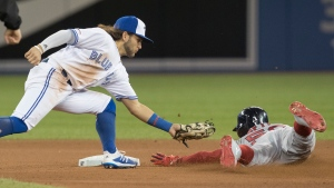 Boston Red Sox' Mookie Betts steals second safely just under the tag of Toronto Blue Jays shortstop Bo Bichette in the seventh inning of their American League MLB baseball game in Toronto on Thursday, September 12, 2019. THE CANADIAN PRESS/Fred Thornhill