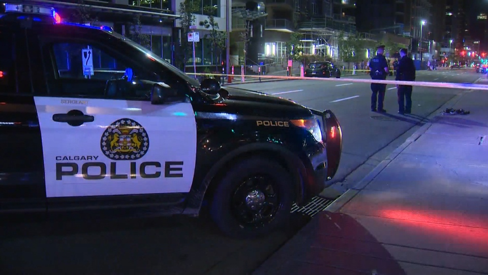 Police have closed section of 12 Avenue SW and 5 Street SW following Friday morning's crash that sent a pedestrian to hospital