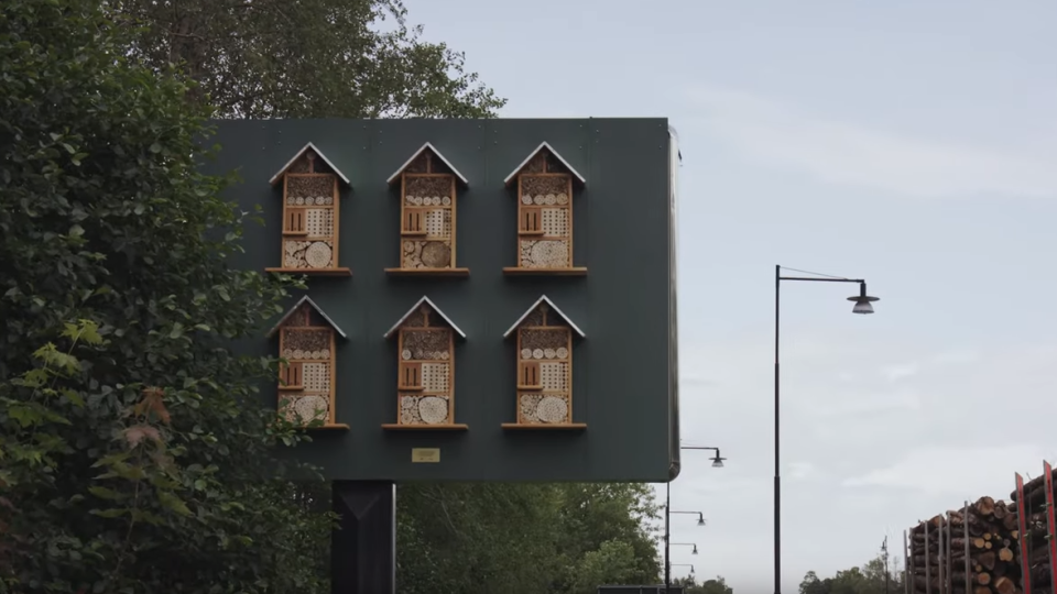 An example of the 'bee hotels' built on the backs of billboards by McDonald's Sweden (McDonald's Sverige on YouTube)