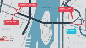 The Jacques Cartier Bridge will have numerous lane and exit closures over the weekend of Sept. 13 to 16. (Graphic: Jacques Cartier and Champlain Bridges Corp.)