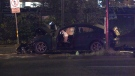 A car crash closed roads near Vancouver' viaducts Friday morning.