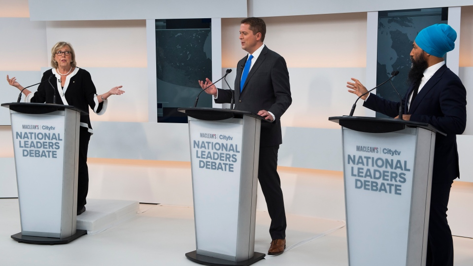 Green Party Leader Elizabeth May, left, Conservative Leader Andrew Scheer, centre, and NDP Leader Jagmeet Singh take part during the Maclean's/Citytv National Leaders Debate in Toronto on Friday, September 13, 2019. THE CANADIAN PRESS/Frank Gunn
