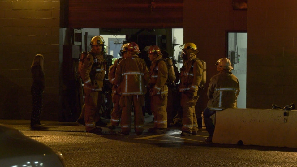 Firefighters outside the Comox Valley Sports Centre during an ammonia leak in Courtenay on Thursday, Sept. 12, 2019. (CTV Vancouver Island)